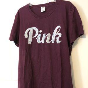 NWOT Victoria's Secret PINK Plum Bling Shirt XL